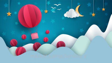 وکتور Air Balloon Cartoon Paper Landscape