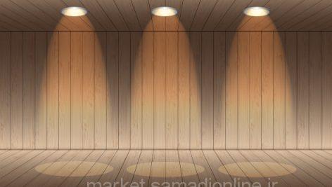 وکتور Realistic Wood Empty Room Interior With Spot Light