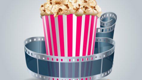 وکتور Freepik Movie Film Reel And Popcorn