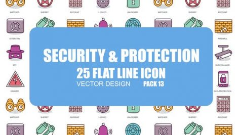 Videohive Security And Protection – Flat Animation Icons 23380958