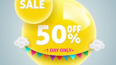 وکتور Freepik Yellow Balls Sale Banner For Promotion
