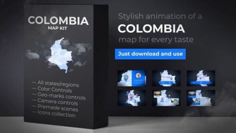 Videohive Colombia Map Animation- Republic of Colombia Animated Map Kit 25630440