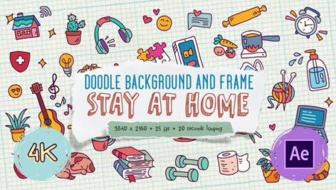 Videohive Doodle Background and Frame – Stay At Home 27871985
