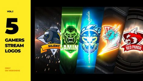 Videohive 5 Gamers Stream Logos 27849621