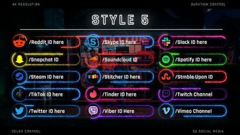 Videohive Neon Social Media Lower Thirds 28410832