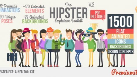 Videohive Hipster Explainer Toolkit – Flat Animated Icons Library 10981763